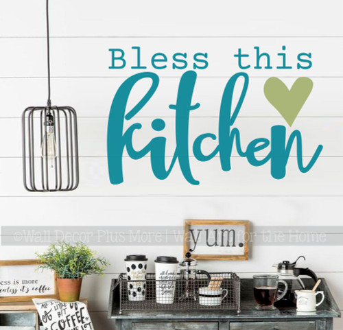 Bless This Kitchen Wall Words Decal Vinyl Lettering Sticker Decor Art-Teal, Olive
