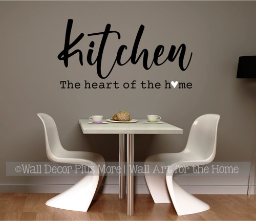 Kitchen Wall Decal Heart of the Home Quotes Decor Art Vinyl Stickers- Black, White Heart