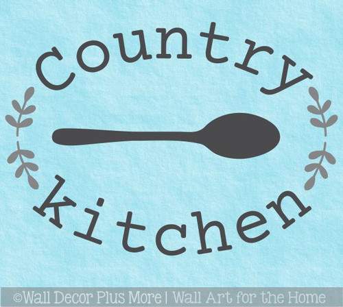 Country Kitchen Spoon Laurel Wreath Wall Art Decal Sticker Word Quotes