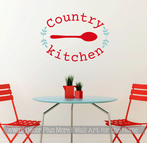 Country Kitchen Spoon Laurel Wreath Wall Art Decal Sticker Word Quotes-Red, Beach House
