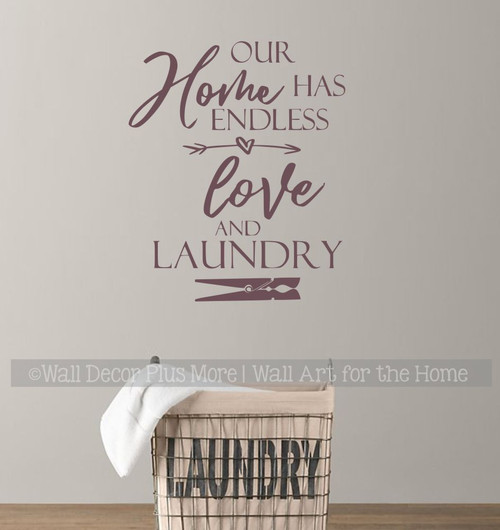 Wall Words Decal Our Home Endless Love Laundry Room Decor Art Sticker-Eggplant