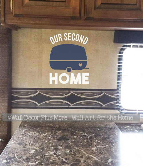 Our Second Home Retro Camper Icon Wall Art Decal RV Travel Decor Sticker-White, Deep Blue