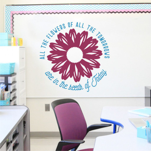 Inspiring Wall Quotes Flowers of Tomorrow Seeds Today Decal Decor Sticker-Bayou Blue, Berry