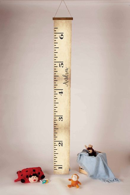 Height Ruler Personalized with First Name Printed on Canvas Growth Chart Nursery Wall Art 6ft