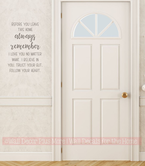 Wall Decal Quote Before You Leave Always Remember Word Art Decor Stickers CastleGray