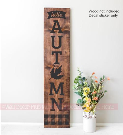 Decal Sticker for Tall Wood Porch Sign Hello Autumn Fall Buffalo Plaid Art 4ft Black