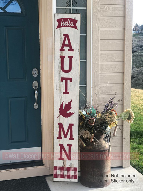 Decal Sticker for Tall Wood Porch Sign Hello Autumn Fall Buffalo Plaid Art 6ft Burgundy