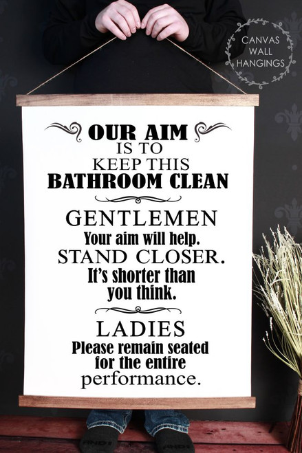 Canvas Wall Hanging Wood Bathroom Sign Art Aim Keep Clean Funny Art Quote Xlarge
