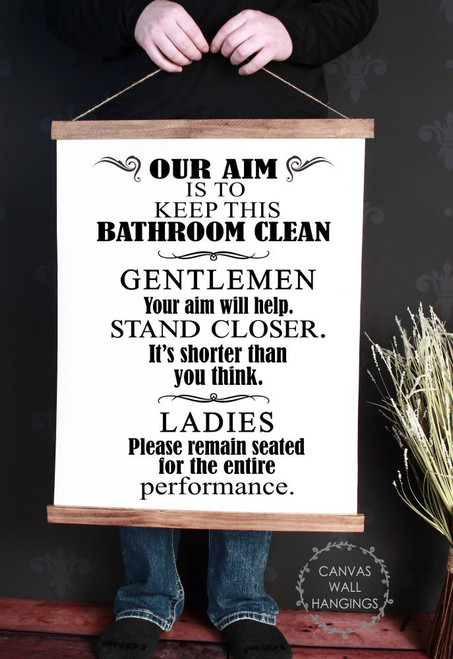 Canvas Wall Hanging Wood Bathroom Sign Art Aim Keep Clean Funny Art Quote Large