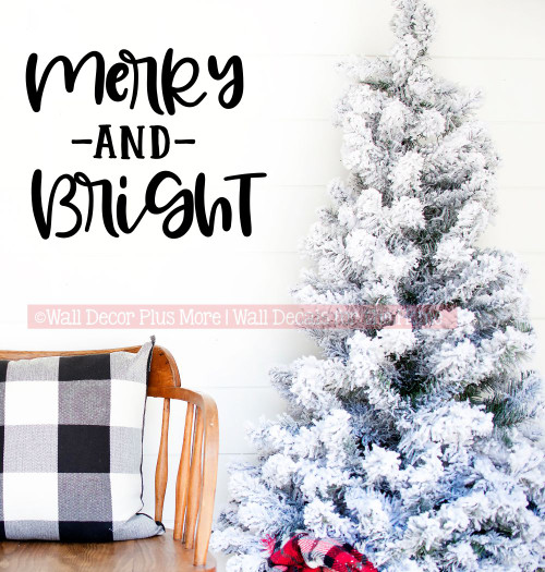 Merry Bright Holiday Wall Art Decal Decor Words Vinyl Letter Stickers-Black