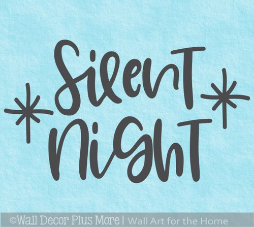 Silent Night Cursive Lettering Sticker Decal Holiday Star Home Wall Art