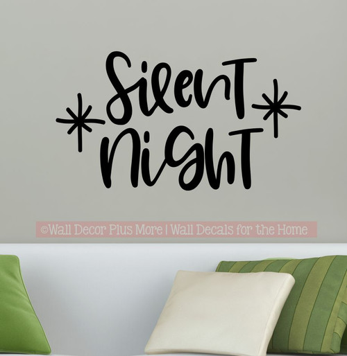 Silent Night Cursive Lettering Sticker Decal Holiday Star Home Wall Art-Black