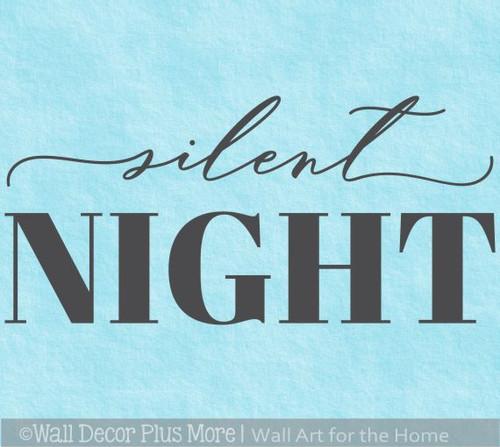 Silent Night Modern Christmas Words Wall Decal Holiday Decor Sticker