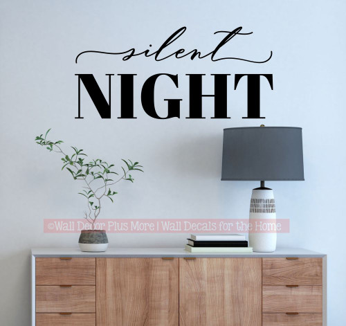 Silent Night Modern Christmas Words Wall Decal Holiday Decor Sticker-Black
