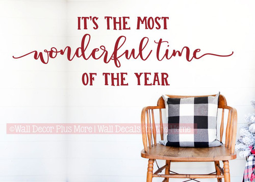 Most Wonderful Time of Year Holiday Wall Decor Sticker Home Decal Words-Burgundy