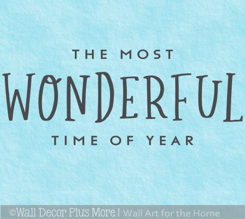 Holiday Winter Wall Art Decal Most Wonderful Time Year Decor Sticker