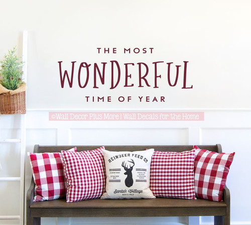 Holiday Winter Wall Art Decal Most Wonderful Time Year Decor Sticker-Burgundy