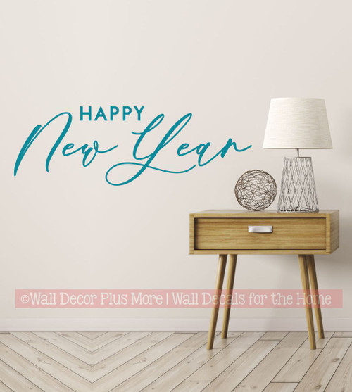Happy New Year Winter Wall Art Decal Decor Sticker Lettering Words-Teal