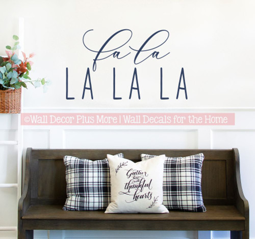 Best Winter Wall Art Decals Fa La La Holiday Song Words Decor Sticker-Deep Blue