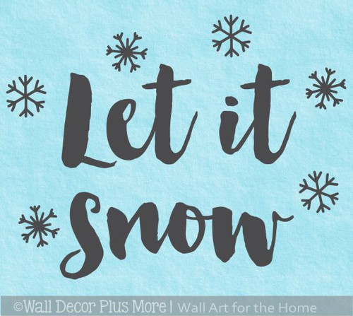 Winter Wall Decals Let It Snow Snowflakes Home Decor Sticker Holidays
