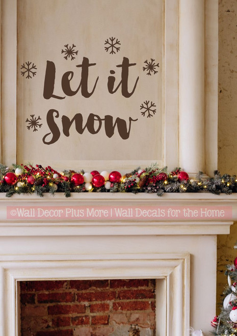 Winter Wall Decals Let It Snow Snowflakes Home Decor Sticker Holidays-Chocolate Brown