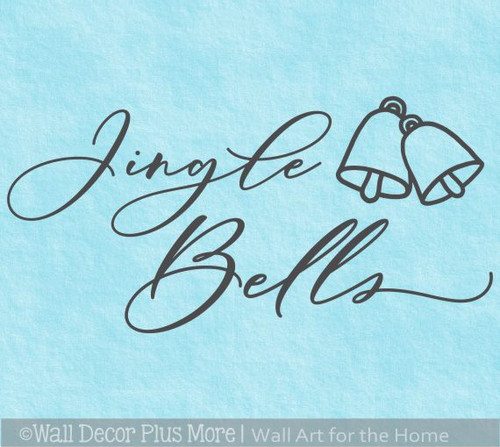 Jingle Bells Christmas Wall Decal Decor Sticker Handwriting Lettering