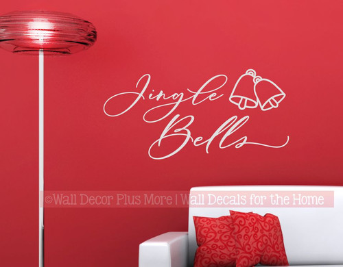 Jingle Bells Christmas Wall Decal Decor Sticker Handwriting Lettering-Light Gray