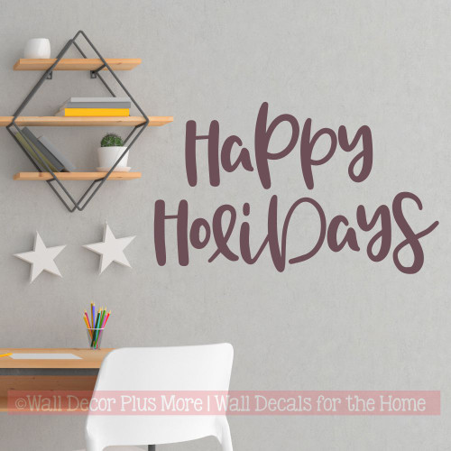 Happy Holidays Wall Decal Sticker Make Winter Art Wood Sign With Decals-Eggplant