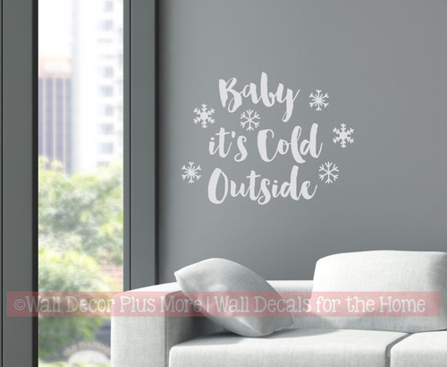 Winter Wall Art Decal Baby Cold Outside Snowflake Sticker Quotes Decor-Light Gray