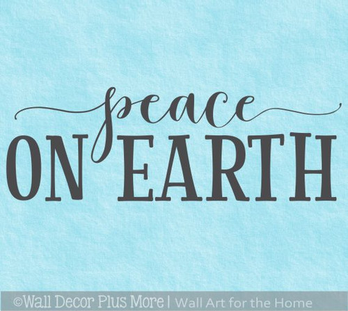 Peace On Earth Holiday Winter Wall Art Decal Sticker Quotes for Decor