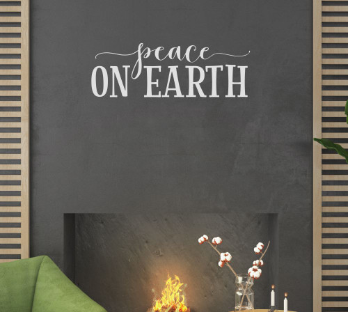 Peace On Earth Holiday Winter Wall Art Decal Sticker Quotes for Decor-Light Gray