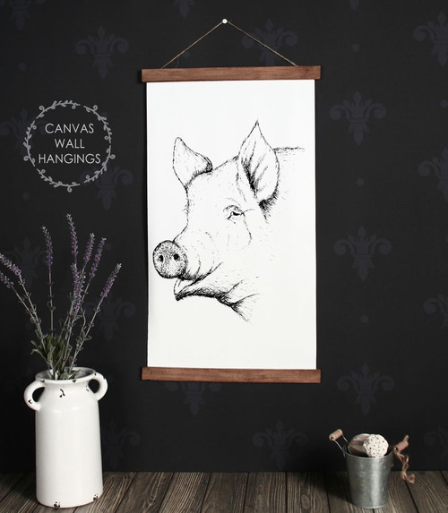 Canvas Wall Hanging Wood Farmhouse Sign Pig Head Farm Line Art 15x26 Inch