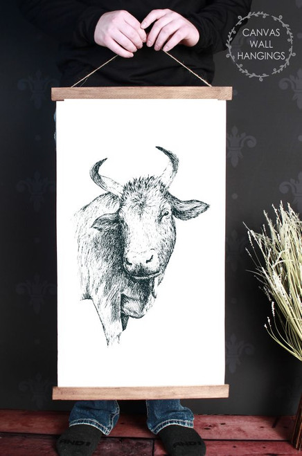 Canvas Wall Hanging Wood Farmhouse Sign Cow Head Farm Line Art 15x26 Inch