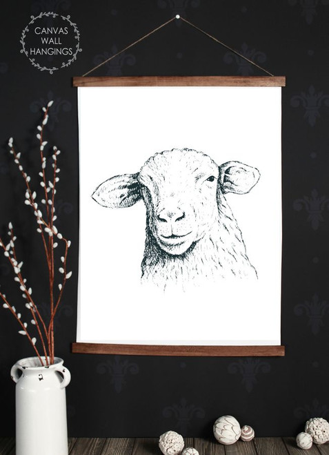 Canvas Wall Hanging Wood Farmhouse Sign Sheep Head Farm Line Art 23x30 Inch
