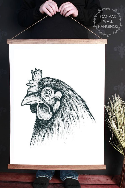 Canvas Wall Hanging Wood Farmhouse Sign Rooster Head Farm Line Art 23x30 Inch