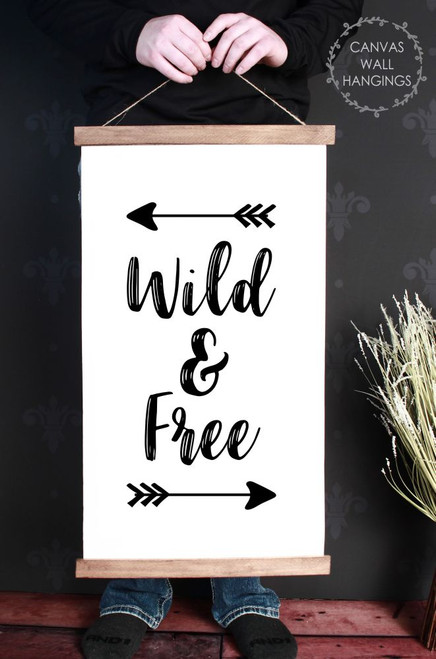 Canvas Wall Hanging Wood Woodland Nursery Decor Sign Art Wild Free 15x26-Inch