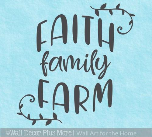 Faith Family Farm Wall Decal Quote Farmhouse Decor Art Sticker Words