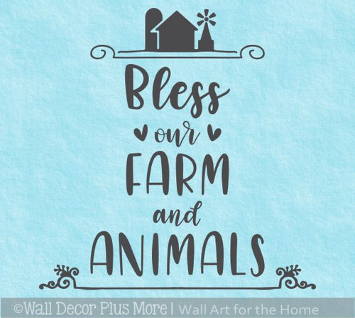 Farm Wall Art Decal Bless Our Farm, Animals Vinyl Lettering Sticker Quote