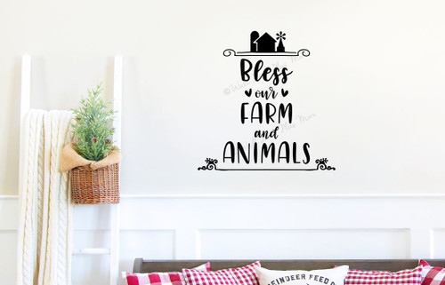 Farm Wall Art Decal Bless Our Farm, Animals Vinyl Lettering Sticker Quote- Black