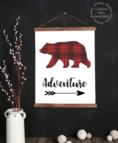 Canvas Wall Hanging Wood Adventure Plaid Bear Woodland Nursery Decor Sign 19x24 Inch