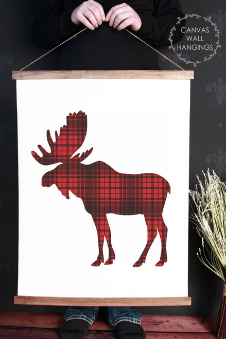 Canvas Wall Hanging Wood Buffalo Plaid Elk Woodland Nursery Decor Sign- 23x30 Inch
