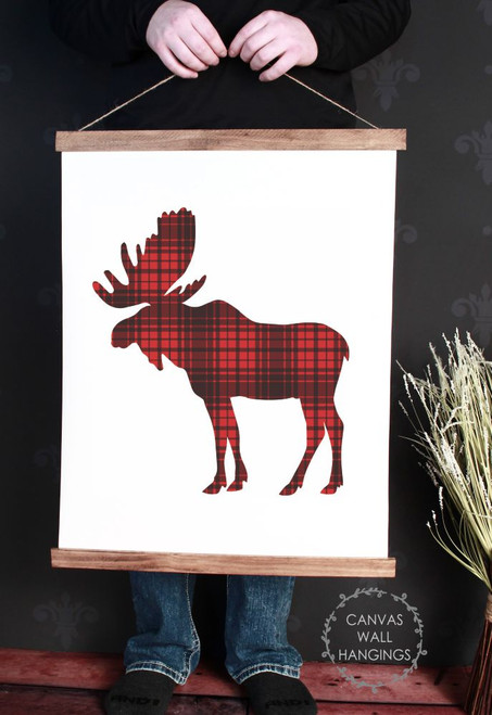 Canvas Wall Hanging Wood Buffalo Plaid Elk Woodland Nursery Decor Sign- 19x24 Inch