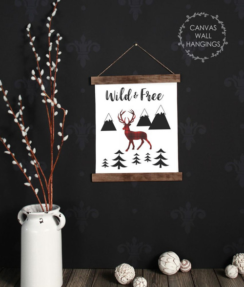 Canvas Wall Hanging Wood Deer Woodland Trees Nursery Rustic Decor Sign- 12x14.5 Inch