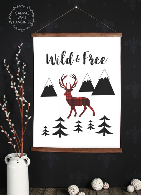 Canvas Wall Hanging Wood Deer Woodland Trees Nursery Rustic Decor Sign- 23x30 Inch