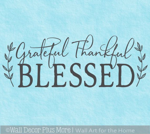 Grateful Thankful Blessed Wall Quote Words Decal Sticker Kitchen Decor