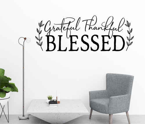Grateful Thankful Blessed Wall Quote Words Decal Sticker Kitchen Decor-Black