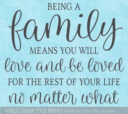 Family Wall Quote Sticker Love Be Loved No Matter What Decal Art Decor