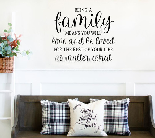 Family Wall Quote Sticker Love Be Loved No Matter What Decal Art Decor-Black