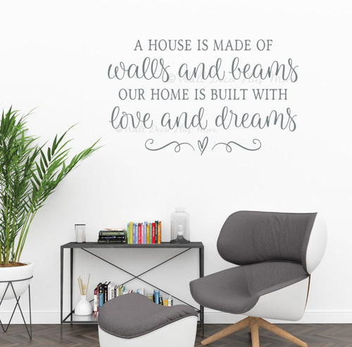 Home Decor Wall Decal Sticker House Walls Beams Home Love Dreams Quote-Storm Gray