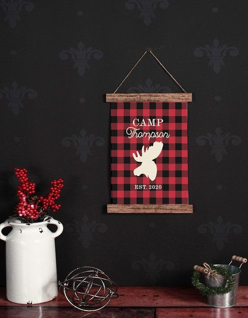 Canvas Wall Hanging Wood Buffalo Plaid Elk Rustic Decor Sign Camp Name-12x14.5 Inch